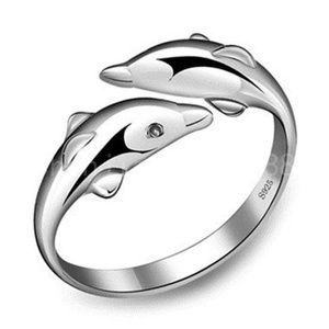 925 Sterling Silver creative Dolphin Ring sz 7